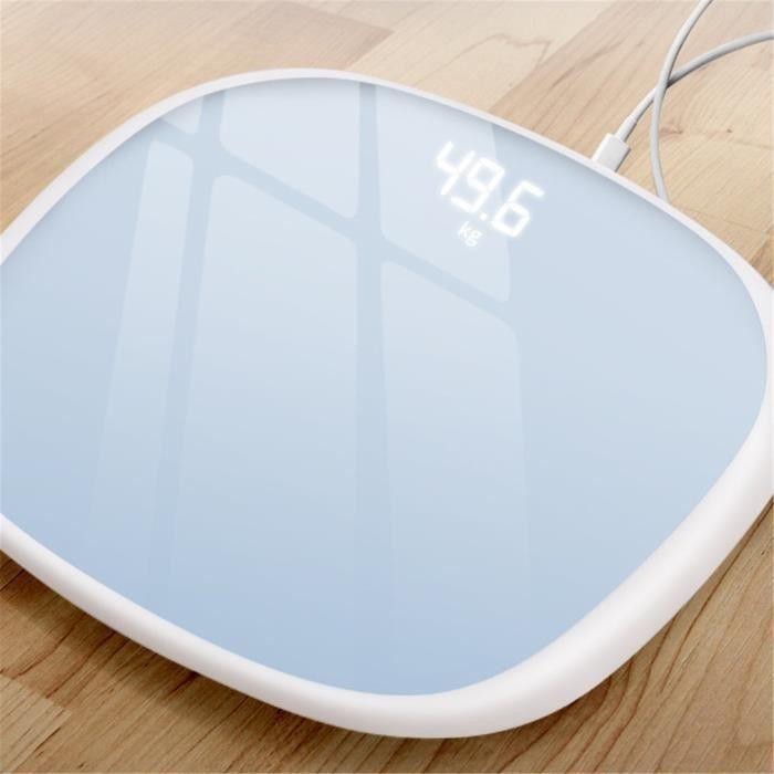 Pèse Personne Impédancemètre, Composition Corporelle Intelligente Mesure Poids Masse Graisseuse IMC, USB chargment - blanc