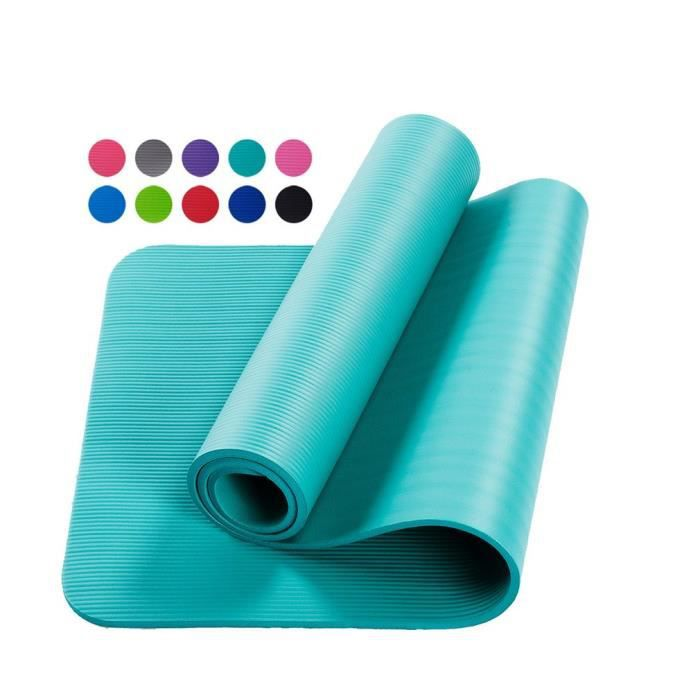 Tapis d'exercice Fitness Tapis de Yoga 183 x 60 x 1,5 cm en Mousse NBR bleu