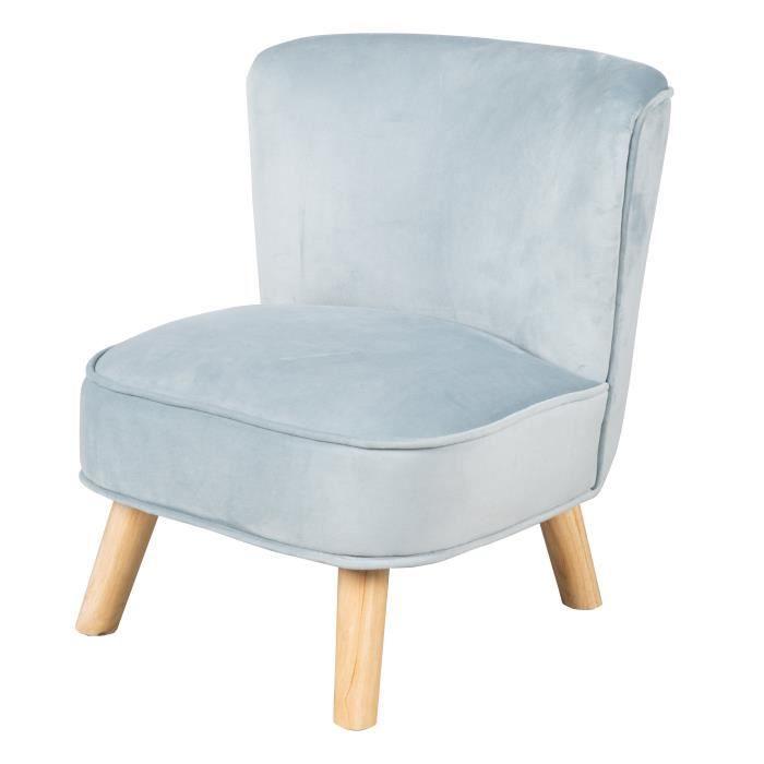 ROBA Fauteuil enfant -Lil Sofa- avec pieds en bois stables et velours bleu clair
