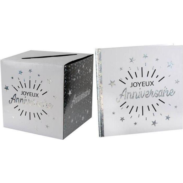 R/6651-6652 - 1 Pack urne et livre d'or joyeux anniversaire blanc et argent