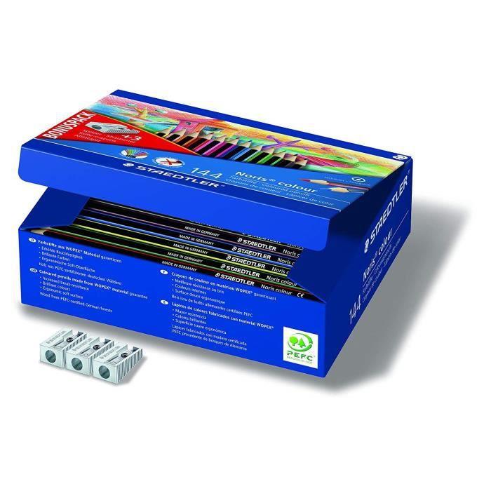 Noris® colour 185 - Classpack carton 144 crayons de couleur WOPEX® assortis+ 3 taille-crayons 510 10 offerts