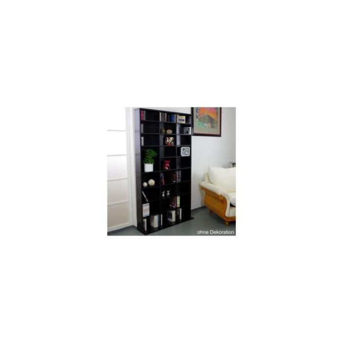 meuble rangement etagere 1080 cd ou 504 dvd noir achat vente meuble tag re meuble rangement. Black Bedroom Furniture Sets. Home Design Ideas