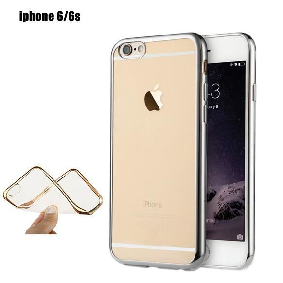 Coque iphone 6 4 7 pouces silicone transparente argent for Housse silicone iphone 7