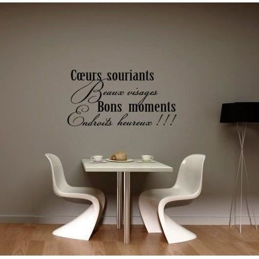 sticker mural citation coeurs souriants achat vente stickers cdiscount. Black Bedroom Furniture Sets. Home Design Ideas