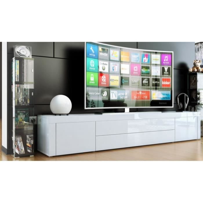 meuble bas pour tv blanc laqu achat vente meuble tv meuble bas pour tv blanc cdiscount. Black Bedroom Furniture Sets. Home Design Ideas