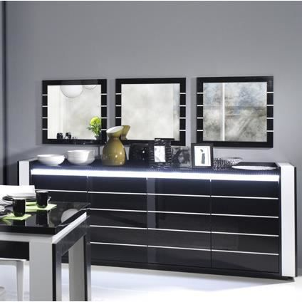 buffet bahut lina noir et blanc laqu avec led achat. Black Bedroom Furniture Sets. Home Design Ideas