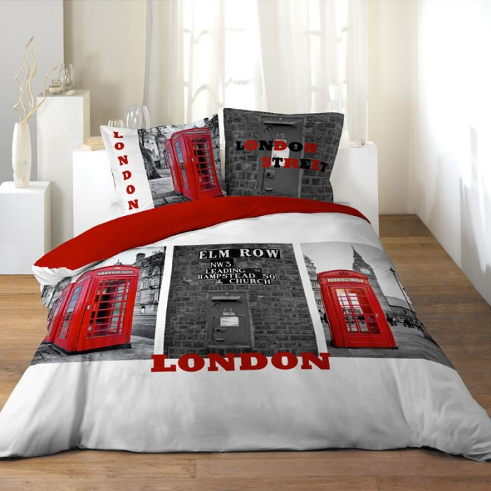 parure de couette 100 coton 220x240 londoner achat. Black Bedroom Furniture Sets. Home Design Ideas