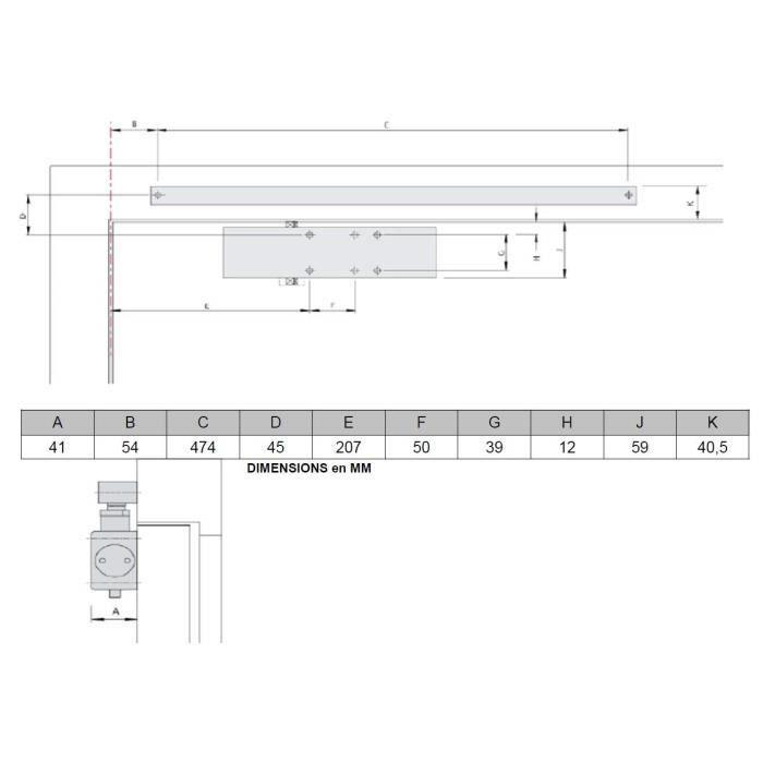 Argent/é Taille 3 Pour commercial ou domestique Qualit/é commerciale Vitesse r/églable Ferme-porte Fermeture de porte Ferme-porte en aluminium Poids moyen