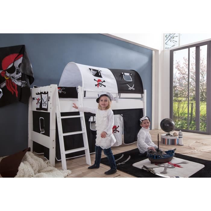 lit mi hauteur enfant coloris blanc d co pirates achat vente lit complet lit mi hauteur. Black Bedroom Furniture Sets. Home Design Ideas