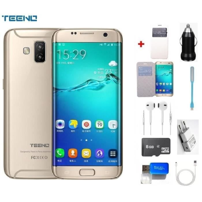 """SMARTPHONE Débloqué TEENO 5.5"""" FHD Smartphone 4G Or(Double SI"""