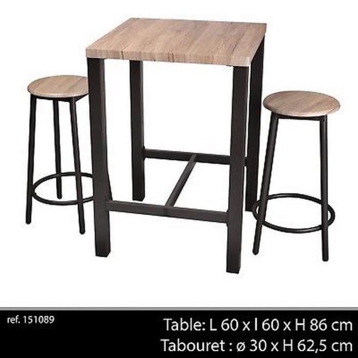 Table De Bar Appoint 2 Chaise Tabouret Industriel Bois Et Metal