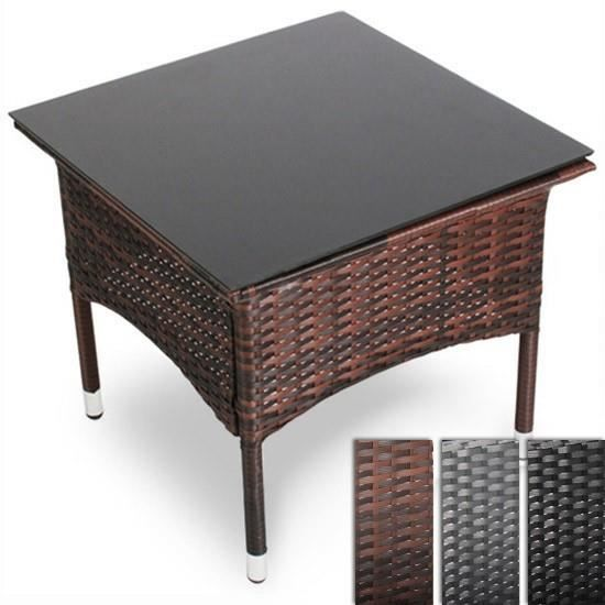 Table en poly rotin avec plateau de verre rttt02 marron for Table en rotin et verre