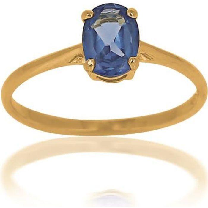 bague en or pierre bleu