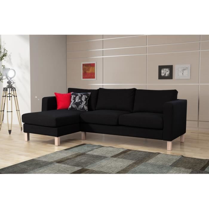 canap d 39 angle norman tissu noir achat vente canap. Black Bedroom Furniture Sets. Home Design Ideas