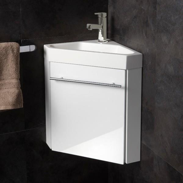 Lave Mains D Angle Avec Meuble Complet Blanc Brillant Et Mitigeur Eau Chaude Eau Froide