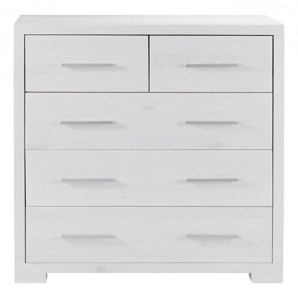 Commode en pin massif 5 tiroirs blanc 100cm mad achat vente commode se - Commode en pin massif ...