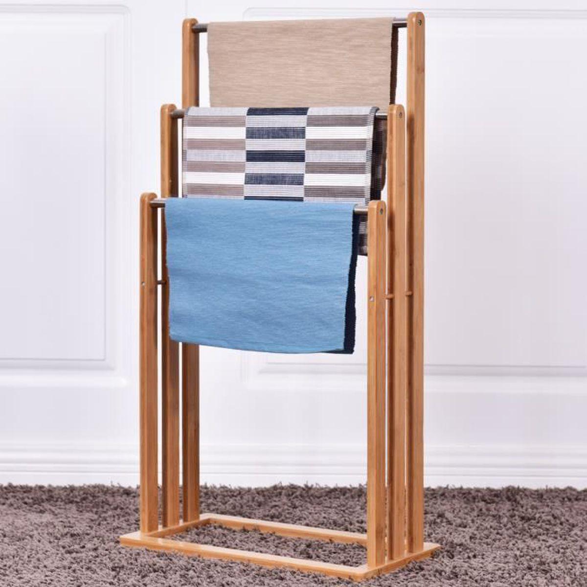 Hauteur Porte Serviette Salle De Bain costway porte-serviettes en bois avec 3 barres support pour