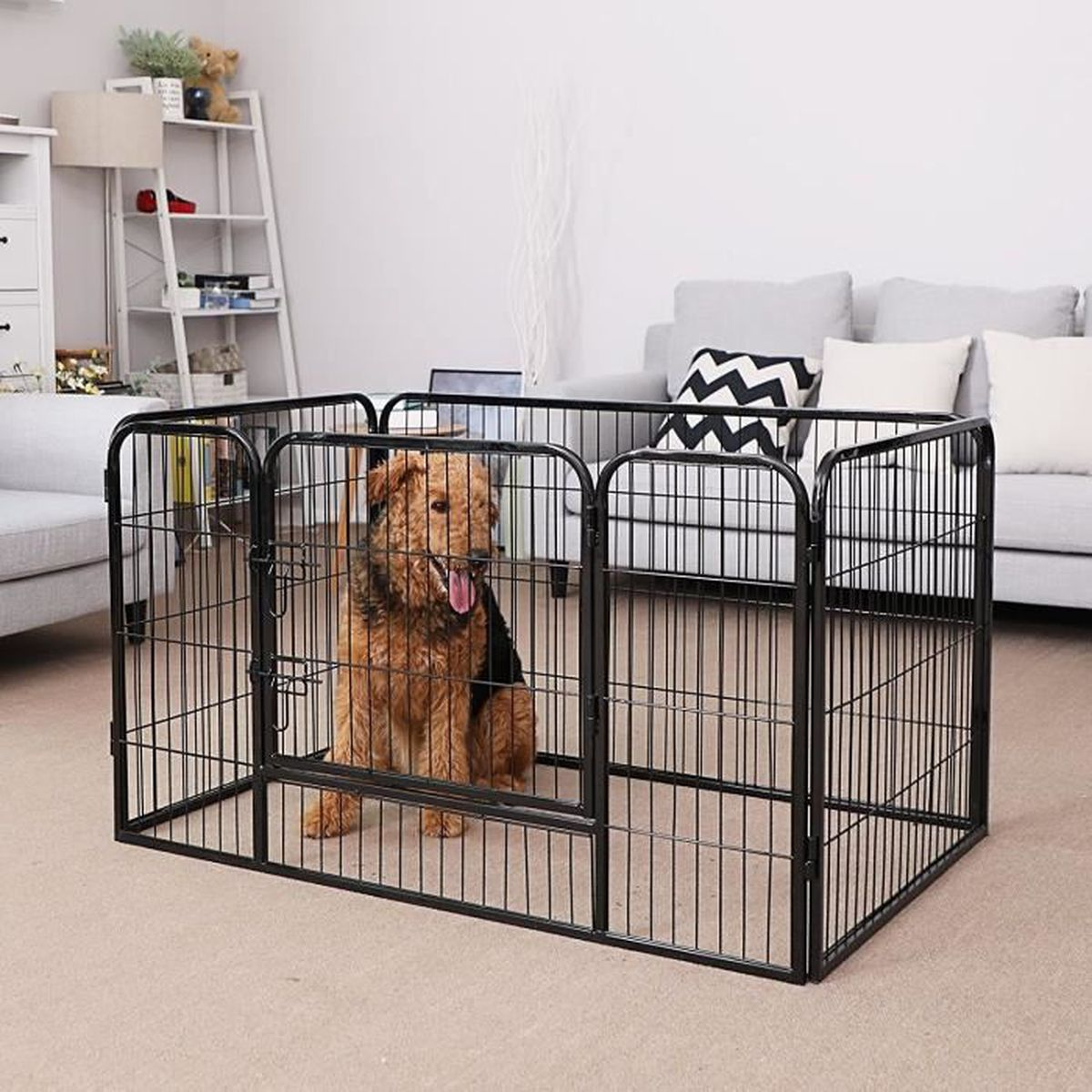 songmics parc pour chien enclos en fer pour animaux de compagnie amovible et transportable noir. Black Bedroom Furniture Sets. Home Design Ideas