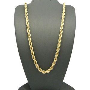 CHAINE DE COU SEULE mince chaîne de corde plaqué or 24k jaune femmes h