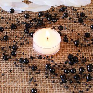 Décors de table 5 Guirlandes perle noir de 1m30 pour déco mariage,