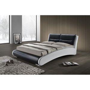 STRUCTURE DE LIT Lit double noir et blanc 140x190 tête de lit et so