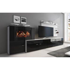 MEUBLE TV MURAL Meuble de salon avec cheminée électrique à 5 nivea