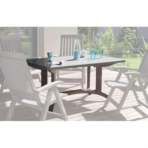 Table de jardin Grosfillex Omega Taupe - Achat / Vente table de ...