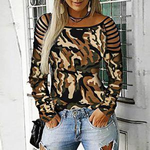 T-SHIRT Les femmes O-cou à manches longues Camouflage Band
