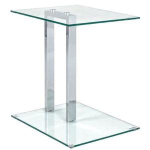 TABLE D'APPOINT Table d'appoint en métal chromé et verre trempé -