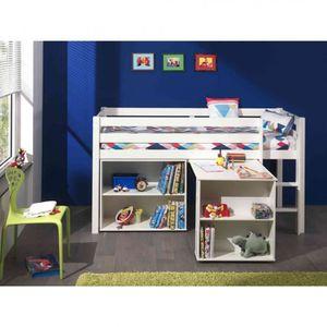 LIT MEZZANINE Lit mezzanine 90x200 blanc   bureau   bibliothèque