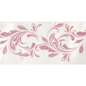 CHEMIN DE TABLE Sur chemin de table arabesque Blanc-rose - 15 cm 5