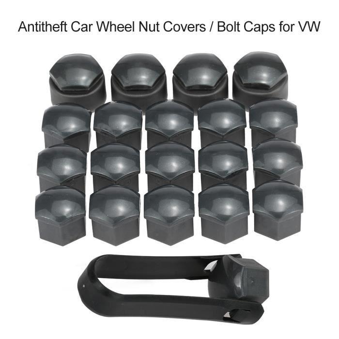 Jeu de 16 + 4 pièces de cache-écrous de roue de voiture universel de 17 mm avec capuchons de verrouillage