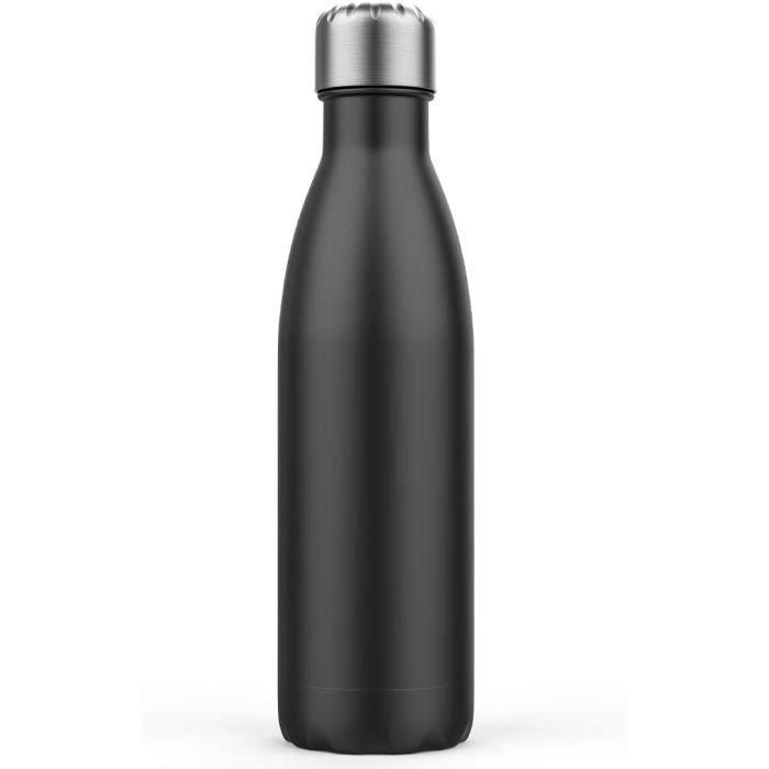 Bouteille d'eau isolée,bouteille à vide en acier inoxydable à double paroi de 500 ml,Isolation eau chaude 18 heures, froid 24 heures