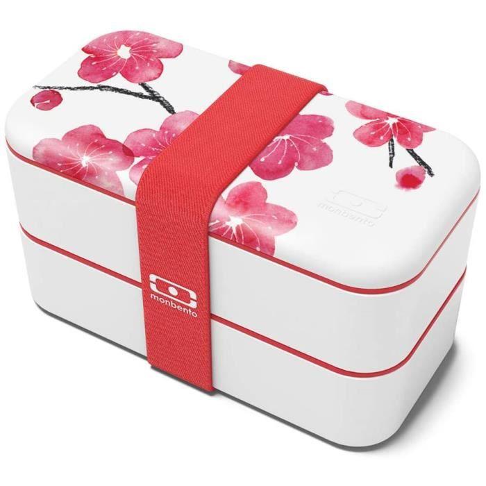 monbento - MB Original Graphic Blossom bento Box Rouge- Lunch Box hermétique 2 étages - Boîte Repas idéale pour Le T
