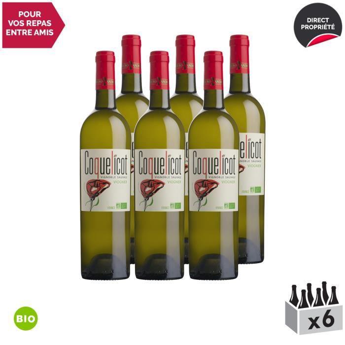 Coquelicot Viognier Blanc 2019 - Bio - Lot de 6x75cl - Bruno Andreu - Vin de France - Origine Languedoc - Cépage Viognier
