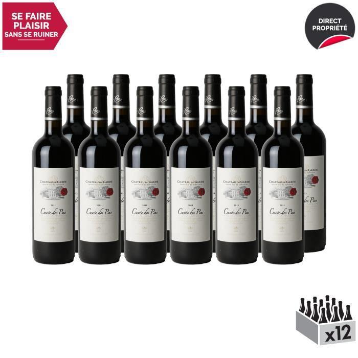 Château du Garde Côtes de Bordeaux Cuvée des Pins Rouge 2011 - Lot de 12x75cl - Vin AOC Rouge de Bordeaux - Cépage Merlot