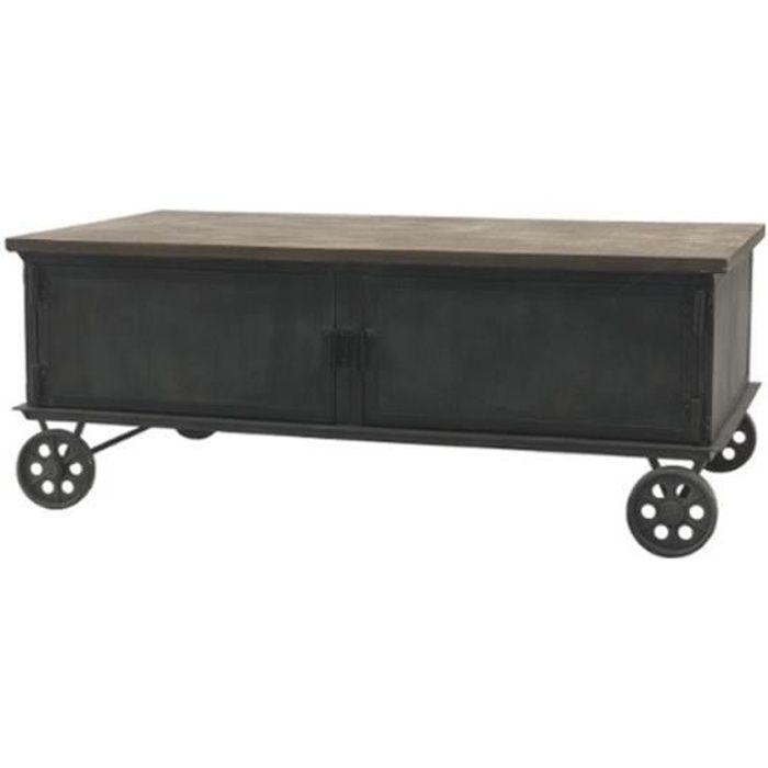 Table Base Industrielle en Bois Fer sur Roulettes 100 cm x 60 cm - 14010-Table