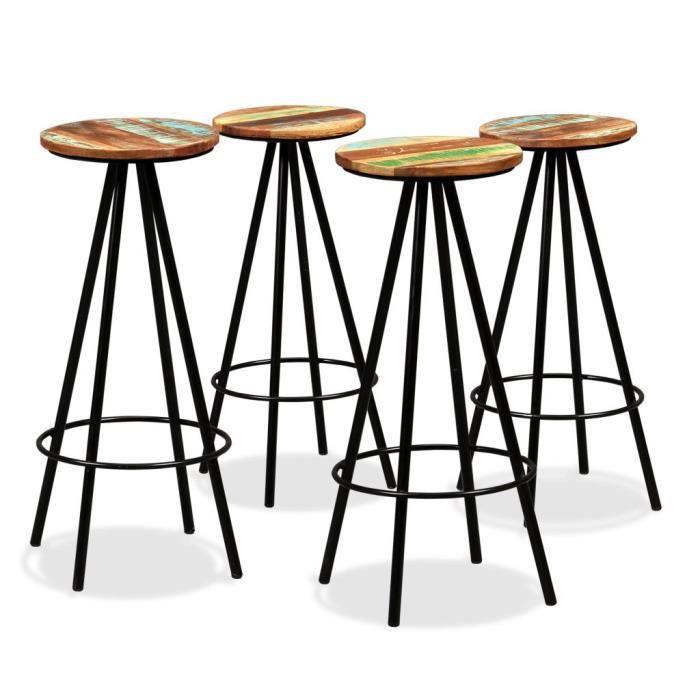 Lot de 4 tabourets de bar chaise de bar Cuisine 30 x 76 cm (Diamètre x H) Salle à Manger Intérieur et Extérieur Bois massif de