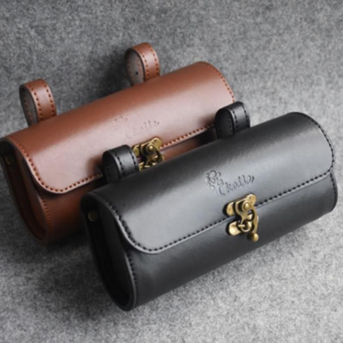 Sac de vélo rétro queue sac en cuir selle coussin sac moto vélo électrique étanche à la pluie guid - Modèle: A brown - HJZXCBB01170