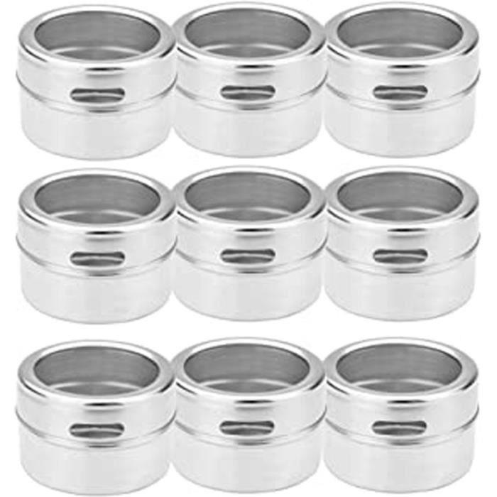 Boîtes À Épices Magnétiques - Lot De 12 - Étiquettes Incluses - Bocaux À Épices En Acier Inoxydable - Pots D'Herbes - Assaisonnement