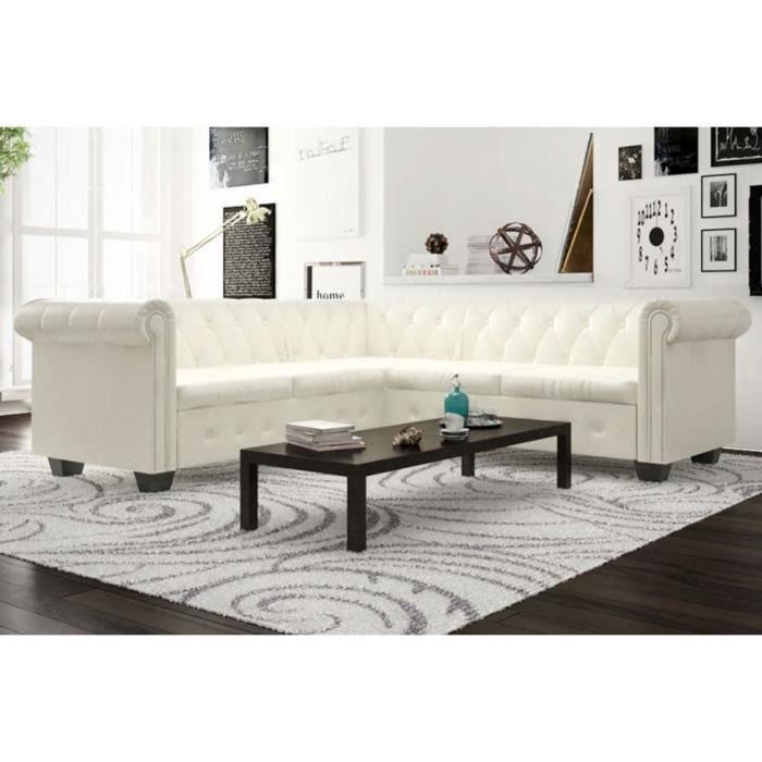 Magnifique Canapé d'angle Design - Sofa Divan Canapé de relaxation Chesterfield 5 plc Cuir artificiel Blanc @45775