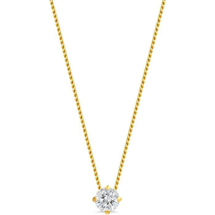 Orovi Collier pour femme en or jaune 0,10 carats avec pendentif solitaire diamant brillant 14 carats (585) or, Longueur : 45 cm,161