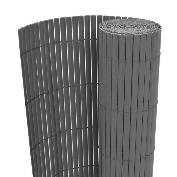 ♫7439 Clôture Classique - Clôture de jardin Brise vue Brise vue Double face PVC 90 x 300 cm Gris MMCZ®