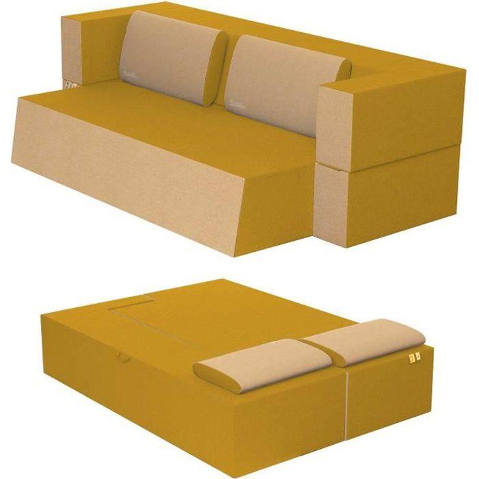 Canapé Lit Praticho Convertible Modulable Réversible 2 places -Tissu dehoussable et lavable Couleur Ambre