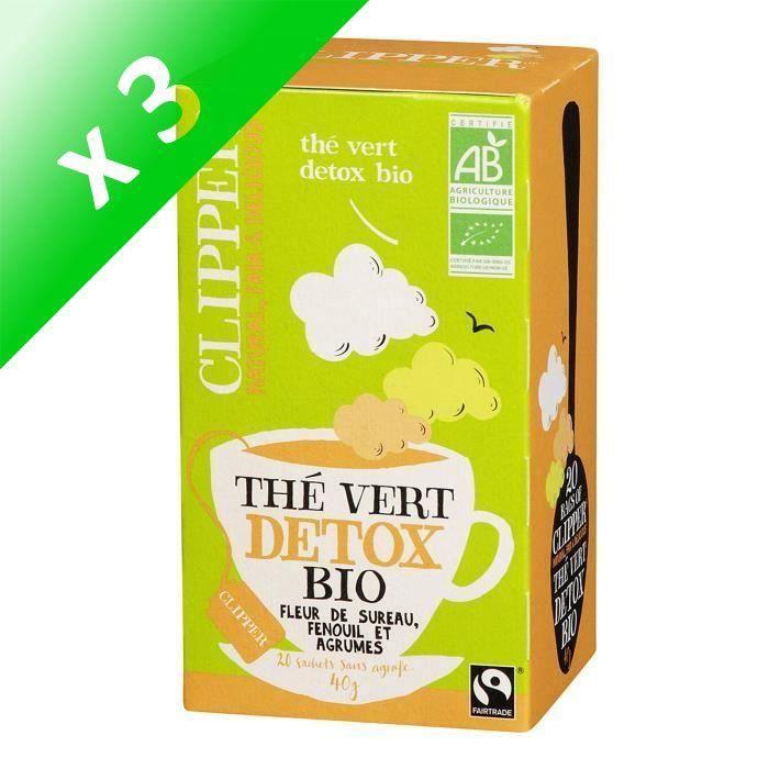 [LOT DE 3] CLIPPER Thé Vert Detox Bio 40g