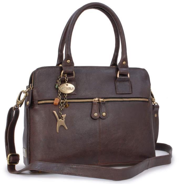 Grand sac à main signé Catwalk Collection - Victoria - Marron