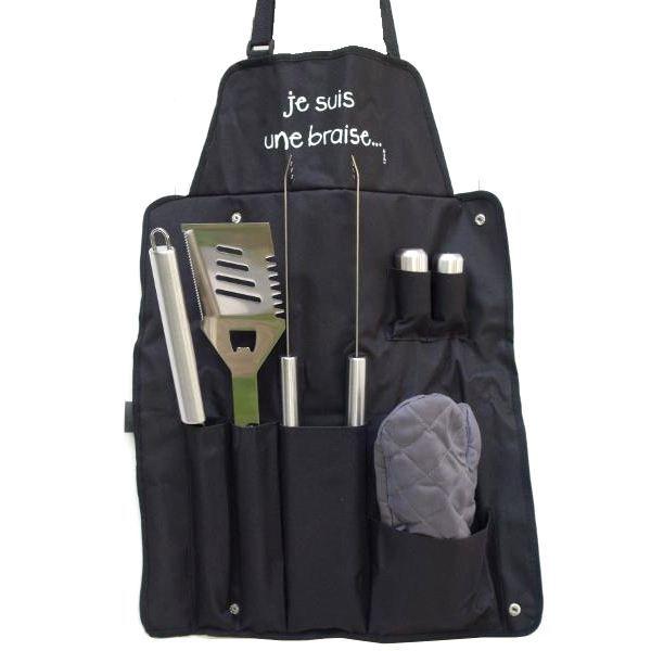Incidence Paris 38413 Kit tablier et accessoires Barbecue Je suis une braise 7 pièces 6 ustensiles Noir et gris Inox et tissu H4 x 4
