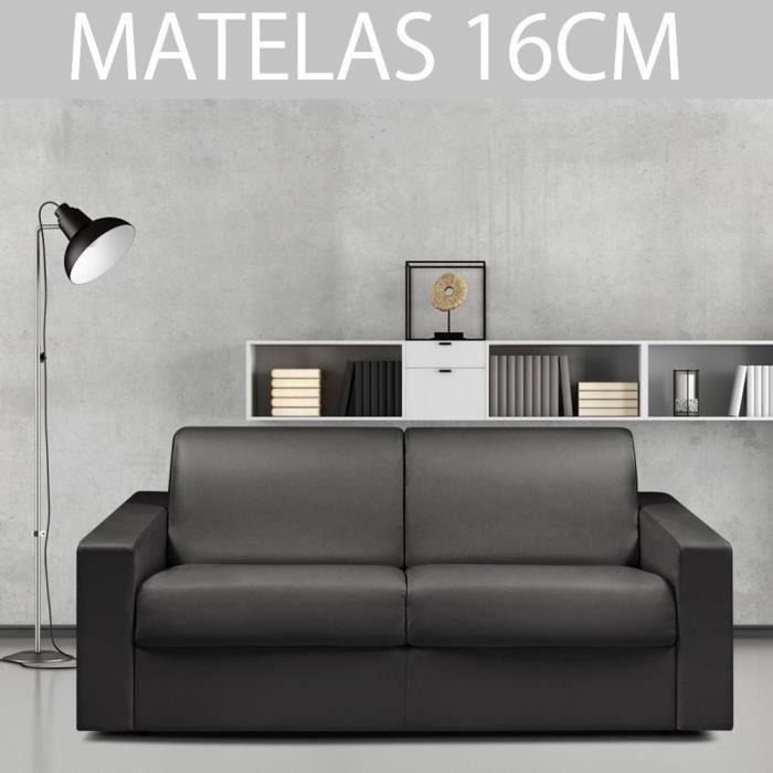 Canapé convertible EXPRESS 3/4 places en polyuréthane noir - Couchage 160cm - Epaisseur matelas 16cm - MIDNIGHT