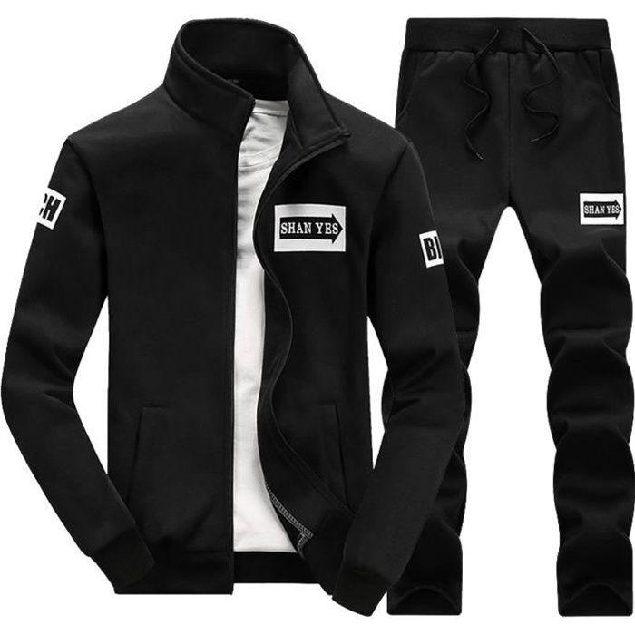 Automne Hiver Épaissir hommes Sweat-shirt Top Pantalons Ensembles sport Survêtement Suit Noir