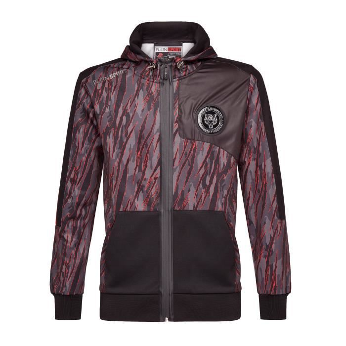 PLEIN SPORT Jogging Jacket - Red & Black - For Men - édition - God Of Thunder-- Référence : MJB0490SJO001N5002